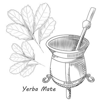 Konzept der kalebasse und der bombilla für das yerba kameradgetränk lokalisiert auf weiß