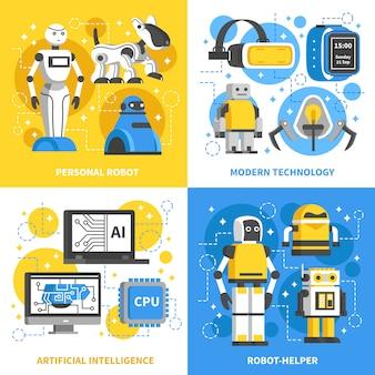Konzept der künstlichen intelligenz 2x2