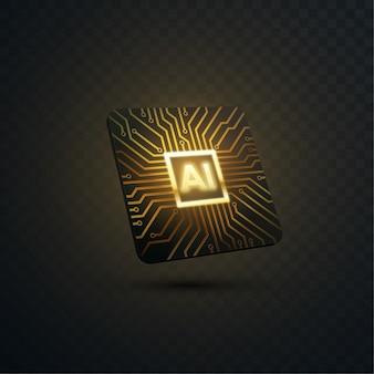 Konzept der künstlichen intelligenz. 3d-technologieillustration des mikrochips mit leiterplattenmuster. ai-prozessor-design