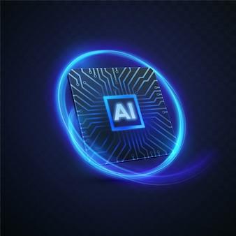 Konzept der künstlichen intelligenz. 3d-technologieillustration des mikrochips mit leiterplattenmuster und neonlichtspur.