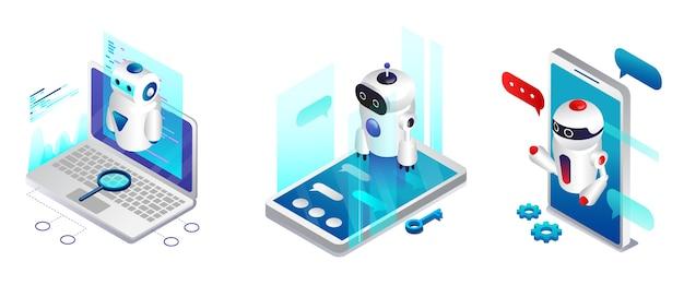 Konzept der künstlichen intelligenz. chatbot und modernes marketing. ai und business iot-konzept. moderne chatbot-anwendungen verschiedener geräte. dialog-hilfedienst.