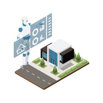 Konzept der künstlichen intelligenz mit roboter und modernem privathaus isometrisch