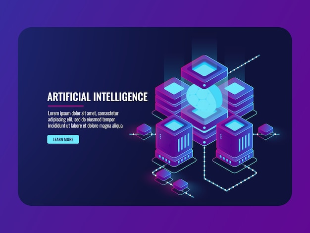 Konzept der künstlichen intelligenz, serverraum, verarbeitung großer daten, gehirn im inkubator