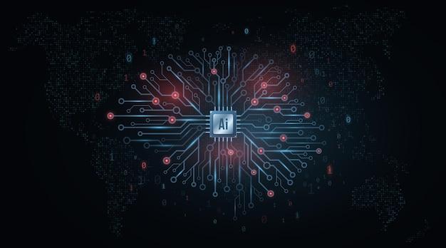 Konzept der künstlichen intelligenz. technologisches gehirn.