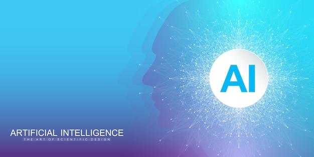 Konzept der künstlichen intelligenz und des maschinellen lernens im neuronalen netz.