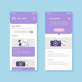 Konzept der kurs-app-oberfläche