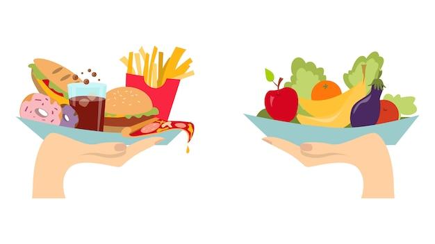 Konzept der lebensmittelauswahl. zwei hände mit gesundem und frischem gemüse und ungesundem junk fast food.