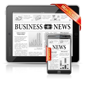 Konzept der letzten nachrichten - tablet-pc u. smartphone-wirtschaftsnachrichten