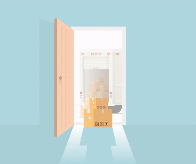 Konzept der lieferung an die tür mit geöffneter vordertür und lieferpaketboxen sowie lieferwagen im freien. illustration