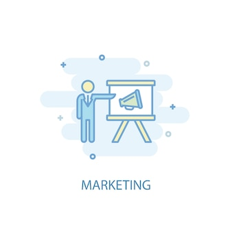 Konzept der marketinglinie. einfaches liniensymbol, farbige abbildung. flaches design des marketingsymbols. kann für ui/ux verwendet werden