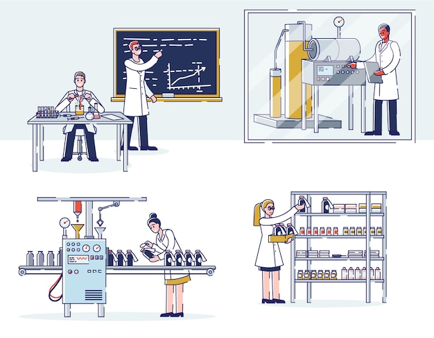 Konzept der medizinproduktion. wissenschaftler forschen im labor, produzieren medizin mit professioneller ausrüstung, verpacken und lagern sie im lager.