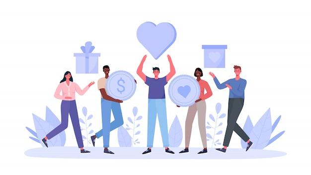 Konzept der nächstenliebe und spende. die menschen geben und teilen liebe, geld, kisten mit kleidung, lebensmitteln, medikamenten und produkten an arme, obdachlose und ältere menschen. flache karikaturillustration der philanthropie.