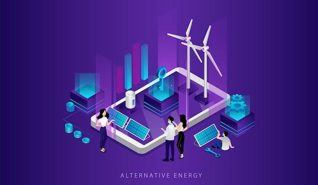 Konzept der öko-technologien. männer, frauen nutzen alternative energiequellen. freundliche einsparung erneuerbarer energien. kraftwerk mit sonnenkollektoren, windmühlenturbinen.