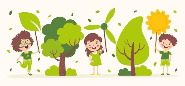 Konzept der ökologie und nachhaltigkeit mit cartoon kids