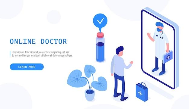 Konzept der online-apotheke im gesundheitswesen. männlicher patient und arzt. isometrisches webbanner für die zielseite. vektor-illustration.