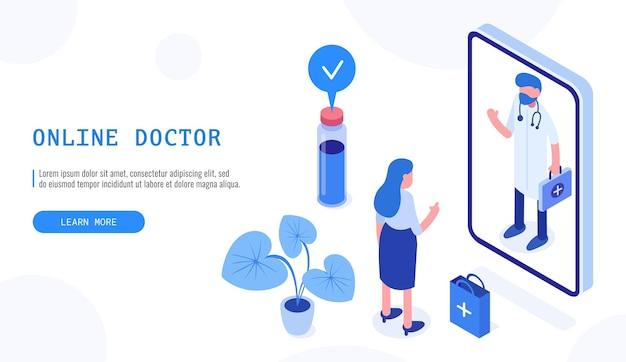 Konzept der online-apotheke im gesundheitswesen. patientin und arzt. isometrisches webbanner für die zielseite. vektor-illustration.