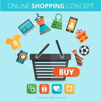 Konzept der online-shopping- Kostenlosen Vektoren