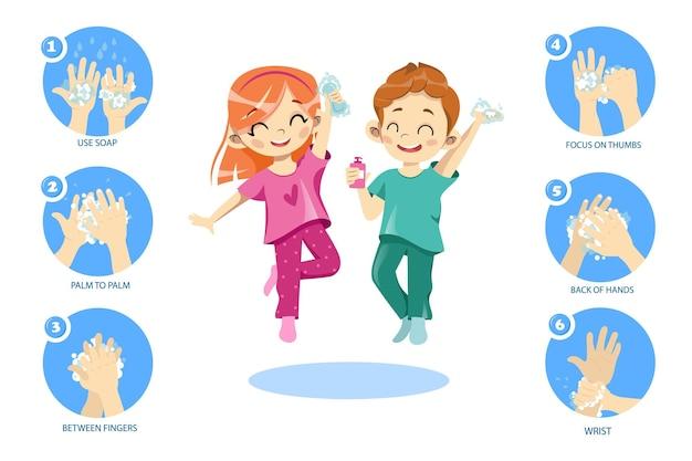 Konzept der persönlichen hygiene für kinder.