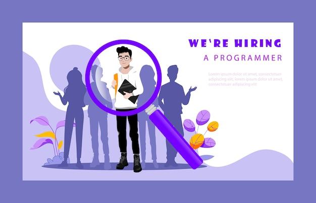 Konzept der personalagentur. hr manager wählt die besten kandidaten für die position eines freien programmierers aus. arbeitgeber auf der suche nach professionellen talentierten mitarbeitern