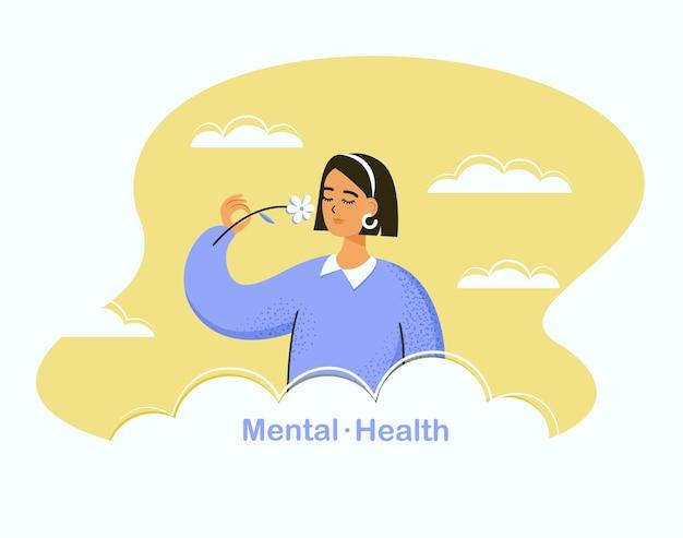 Konzept der psychischen gesundheit junges ruhiges mädchen, das blume gegen den himmel riecht