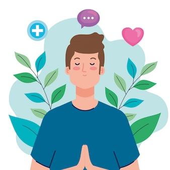 Konzept der psychischen gesundheit und mann, der mit gesundheitssymbolen meditiert