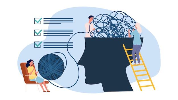 Konzept der psychotherapie. psychologe unterstützung, metapher zur aktualisierung des geistes. psychologie, die vektorillustration hilft. unterstützung der psychischen und assistenzpsychotherapie