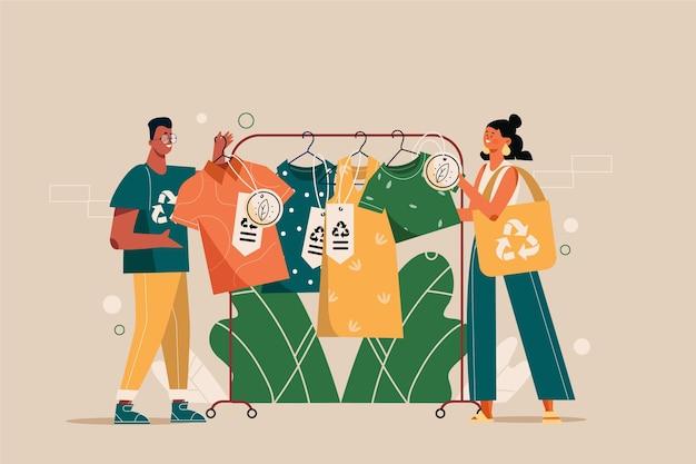 Konzept der recycelten kleidung flach von hand gezeichnet