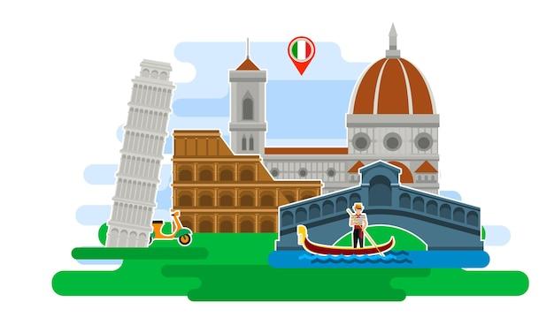 Konzept der reise nach italien oder des studiums der italienischen italienischen flagge mit sehenswürdigkeiten ausgezeichneter urlaub in italien flache designvektorillustration