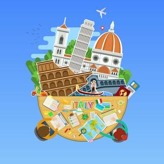 Konzept der reise nach italien oder italienisch lernen. italienische flagge mit wahrzeichen im büro. flaches design, vektorillustration
