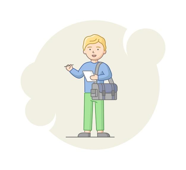 Konzept der reportage und des interviews. junger mann reporter, der eine information sammelt. männlicher charakter, der mit notiz und tasche steht und zum interview bereit ist. linearer umriss flacher stil. vektor-illustration.