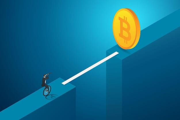 Konzept der risikoinvestitionsmöglichkeiten kryptowährung geschäftsmann mit fernglas balancieren