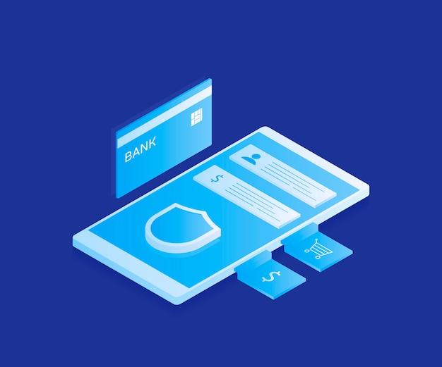 Konzept der sicheren mobilen zahlungen, schutz der persönlichen daten. geld von der karte überweisen. kryptowährung und blockchain. moderne illustration im isometrischen stil