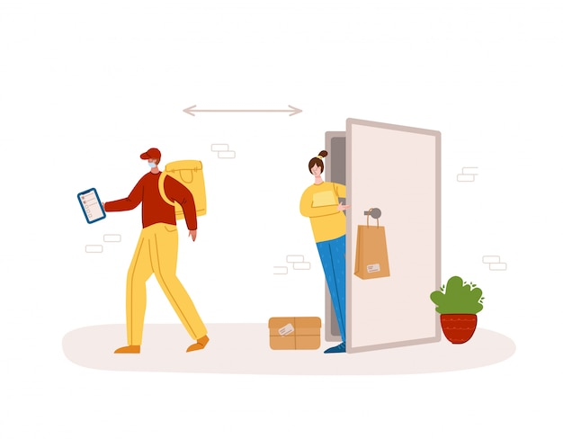 Konzept der sicheren zustellung - kontaktlose zustellung von produkten oder paketen an die haustür, express-kurierdienst