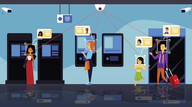 Konzept der sicherheitstechnologien zur erkennung und identifizierung von gesichtern, überwachungskamera für männer und frauen, die geld am geldautomaten abheben. flache karikaturvektorillustration der gesichtsidentifikation