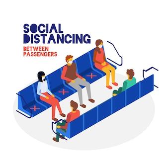 Konzept der sozialen distanz zwischen passagieren