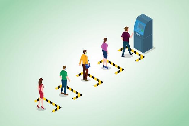 Konzept der sozialen distanzierung oder physischen distanzierung mit warteschlangen für personen in einer reihe von geldautomaten mit modernem isometrischem stil