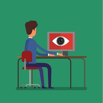 Konzept der spionage. großer bruder beobachtet einen mann. flaches design, vektorillustration