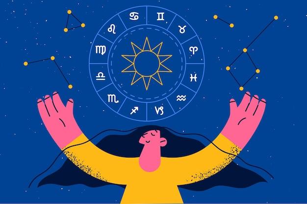 Konzept der spiritualitäts- und astrologiesymbole