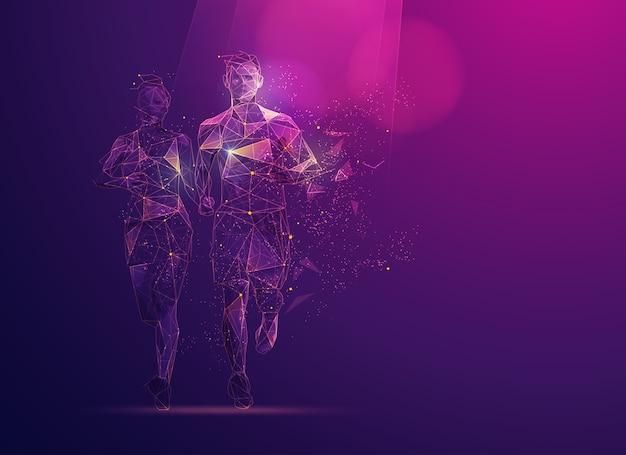 Konzept der sportwissenschaftstechnologie, polygonläufer mit futuristischem element