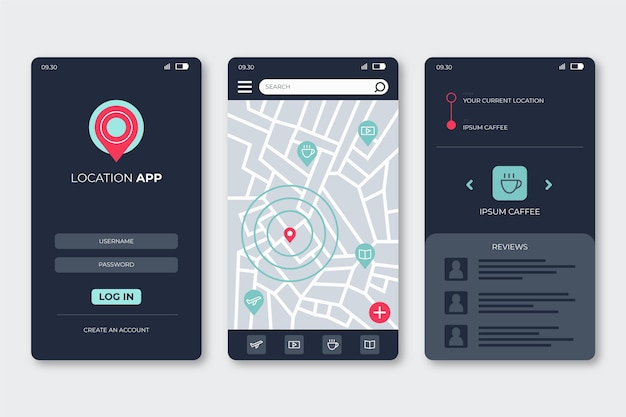 Konzept der standort-app-schnittstelle