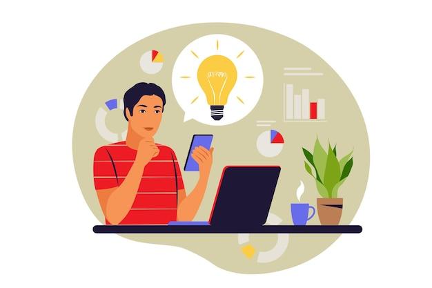 Konzept der startup-idee. geschäftsmann überprüft glühbirnenidee und genehmigt. vektor-illustration. eben.