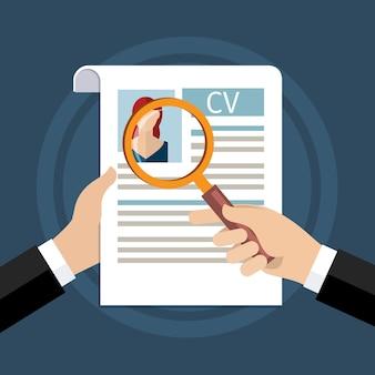 Konzept der suche nach professionellem personal, analyse des personallebenslaufs, einstellung, personalmanagement, arbeit von stunden. flaches design