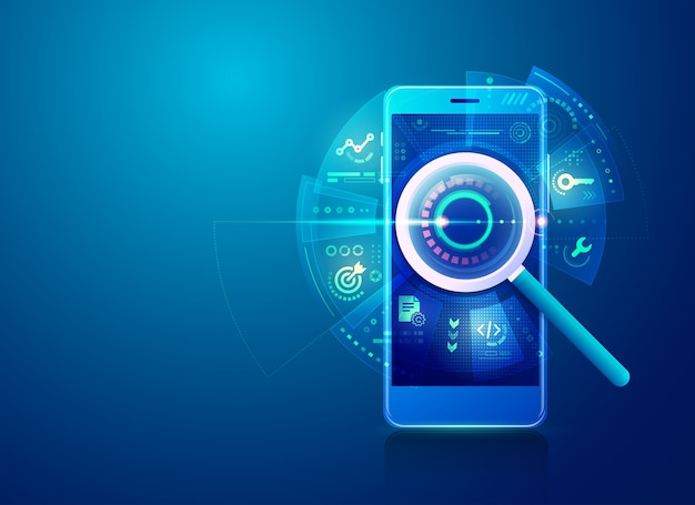 Konzept der suchmaschinenoptimierungsstrategie oder seo, realistische lupe mit digitalen marketingikonen