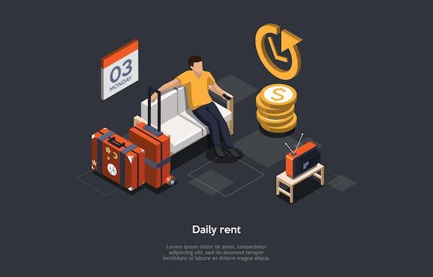 Konzept der täglichen immobilienmiete. mann hat eine wohnung für den tag gemietet.
