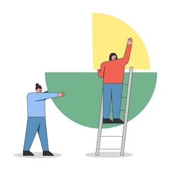 Konzept der teamarbeit, abschlusserstellung, statistik, geschäftsbericht.