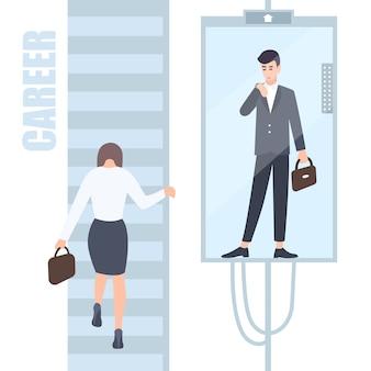 Konzept der ungleichheit der geschlechter. geschäftsfrau und -mann erklimmen die karriereleiter, wo sich für männer und frauen unterschiedliche möglichkeiten ergeben. flache bunte illustration der karikatur.