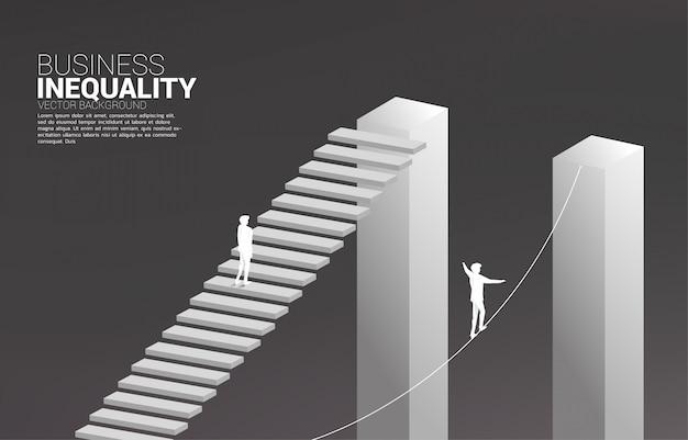 Konzept der ungleichheit im geschäft und hindernis im karriereweg
