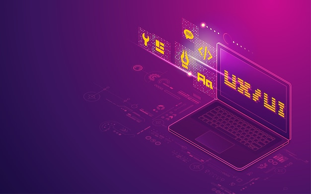 Konzept der ux-ui-entwicklung, grafik eines computer-laptops mit digitalem technologieelement in isometrischer darstellung