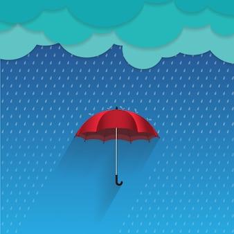 Konzept der vektorillustration 3d schützen den regen durch regenschirm