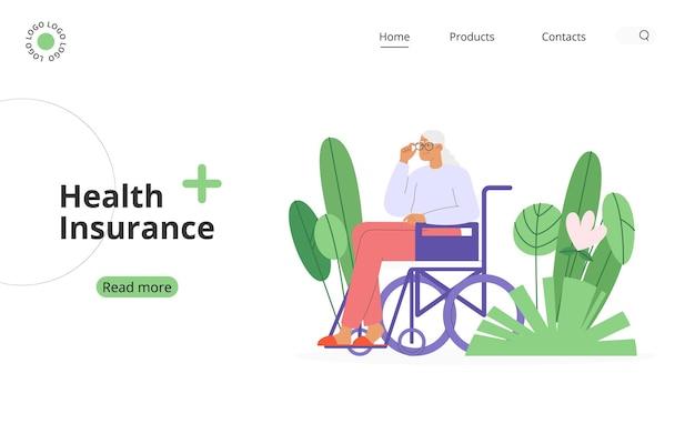 Konzept der versicherung von rentnern oder behinderten oder behinderten menschen